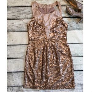 Ark & Co gold sequins sleeveless dress formal L