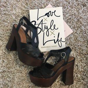 Black wood heels