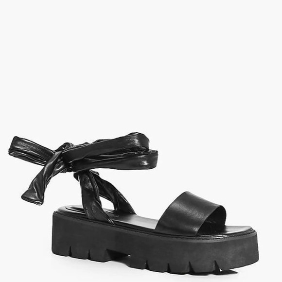 607566fb7502 Boohoo Shoes - black platform pleather lace up sandals