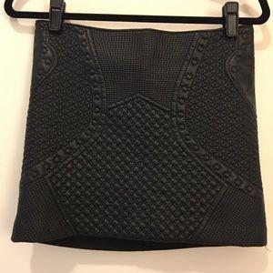 Tooled fake leather miniskirt