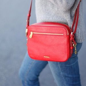 NWT Fossil Piper red crossbody