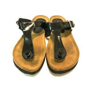American Eagle Sandals Black Faux Suede Size 8.5