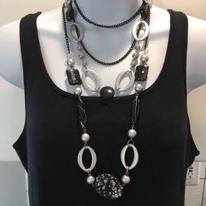 Black & Silver Multi Layer Necklace