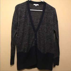 Madewell Gray and Black Button Cardigan Sweater