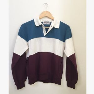 Vintage Striped Polo Style Pullover