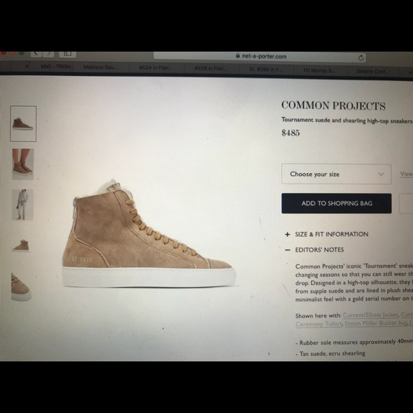 23c4ef7333a6 Common Projects Shoes   Tournament Suede Shearling   Poshmark