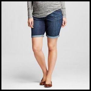 Denim Bermuda Maternity Shorts