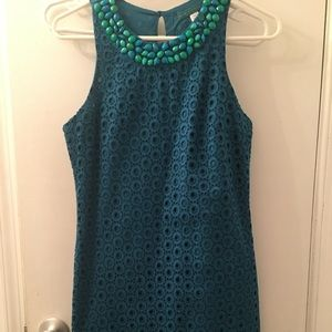 Beautiful teal jeweled neckline shift dress