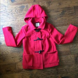 Old Navy Red Pea Coat With Toggles and Zipper