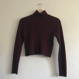 Burgundy maroon ribbed cropped turtleneck