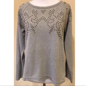 Apt 9 Sweater Size PS Gray Studded Pullover