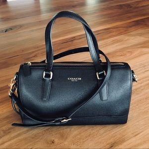 Coach black leather crossbody / handbag