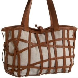 Pallie Bags Neely Tote Linen and Leather