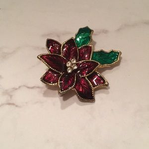 Jewelry - Poinsettia Brooch Pin with Rhinestones