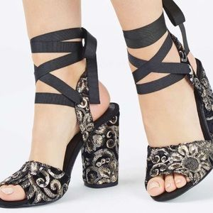 Topshop embroidered heels