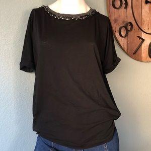 J. Crew black short sleeve jeweled neckline tee