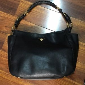 Authentic Prada Black leather handbag!