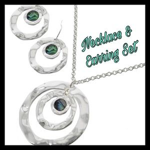 Abalone & Silver Graduating Necklace & Earring Set
