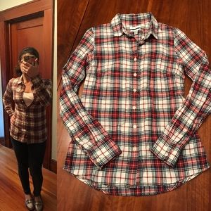 J. Crew Perfect plaid button down shirt