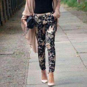 Zara Chinoiserie Pants Sz 4