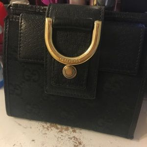 Gucci canvas and leather black Monogram wallet