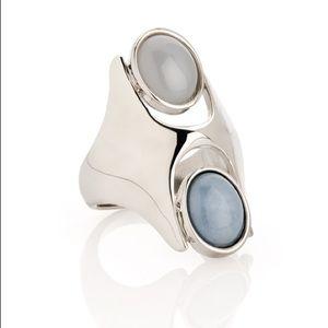 Jewelmint coastal stones long silver cabochon ring