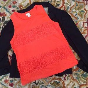 J. Crew T-shirt Top in Size XXS Petite Lace Detail