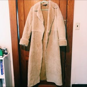 Express Suede Leather Jacket Fur Long Trench #37