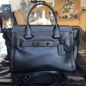 Coach Swagger Matte Black Pebble Leather