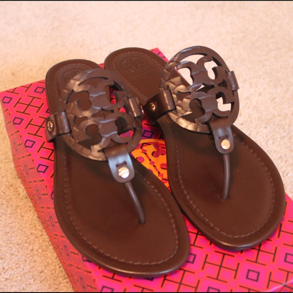 Tory Burch Miller Sandals in Chocolate Snake Print