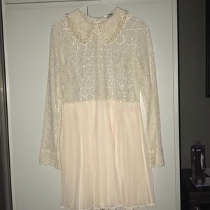 Sabo Skirt Lace Dress with Pearls on Collar