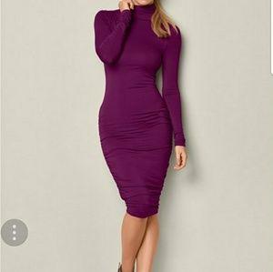 Merlot-deep Purple Mock Neck Midi Dress