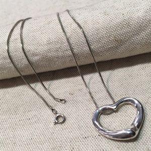 Tiffany Open Heart Elsa Peretti Sterling Necklace