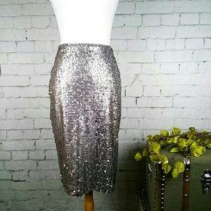 EUC Express matte pewter sequined pencil skirt