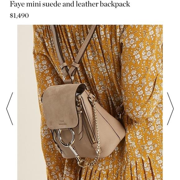 b3b96da4e08 Chloe Bags | Chlo Grey Mini Faye Backpack | Poshmark