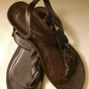 Dark Brown Braided Sandals Size 7M