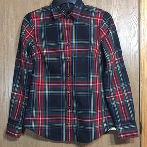 J Crew Tartan Plaid Perfect Fit Button Down