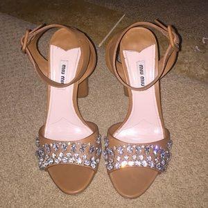 MIU MIU crystal city sandal block heel size 38