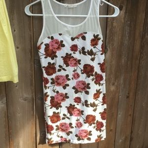 Forever 21 Stretch Mini Mesh Rose Bodycon Dress XS