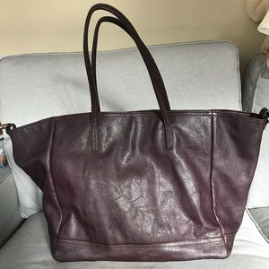 Zara Oxblood Tote Bag with Clips
