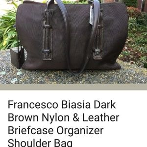 Francesco Biasia Dark brown nylon/leather