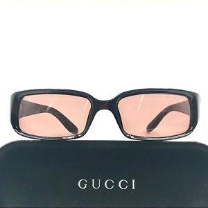 Gucci vintage rectangle burgundy sunglasses w case