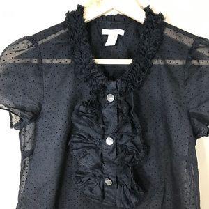 J.Crew Teagan  black ruffle Swiss-dot top, size 0