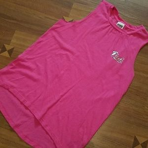 PINK cutoff sleeve tank with ombre sequins