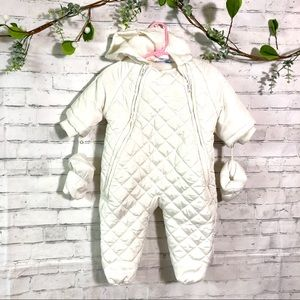 Baby infant 3-6 months white one piece winter suit