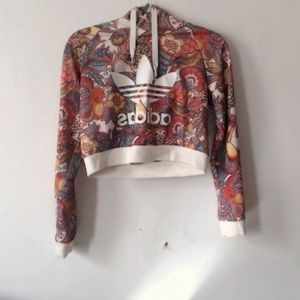 Adidas farm bright floral print cropped hoodie