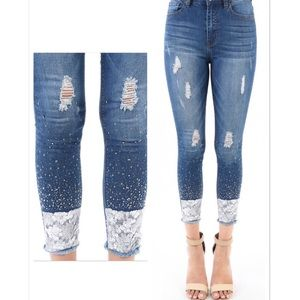 Denim - Sequin and Rhinestone Frayed Hem Skinny Jeans