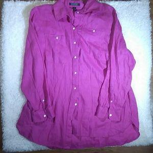 1X Ralph Lauren long pink button down shirt