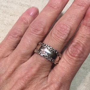 Wide Sterling Silver Band Ring Filigree Edge
