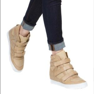 Nude Wedge Faux Leather Sneakers